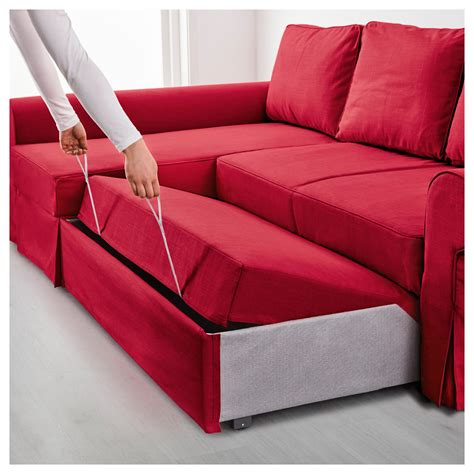 red sofa beds backabro sofa bed with chaise longue nordvalla red ikea