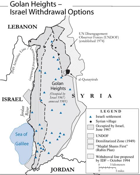 middle east map golan heights golan heights israel withdrawal options aug 2000