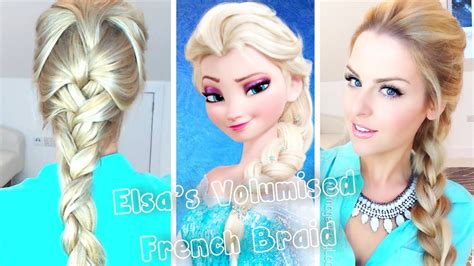 from frozen hairstyle volumised french braid hair tutorial frozen elsa youtube