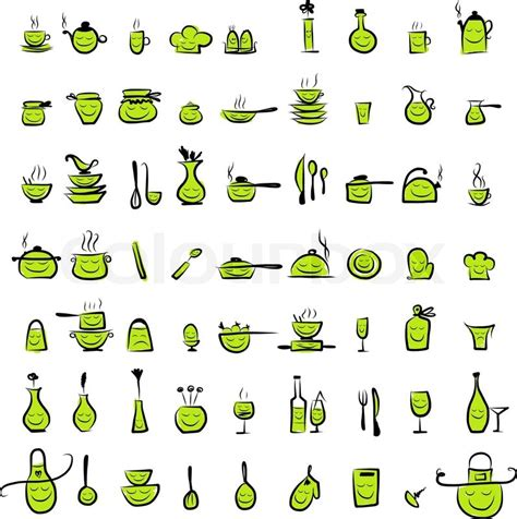 Kitchen utensils characters, sketch drawing icons for your