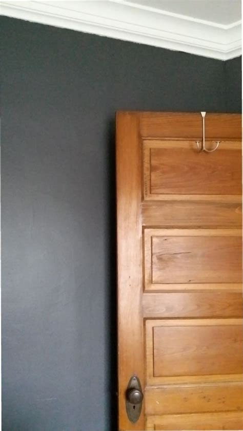 olympic paint knights armor looks great with stained wood trim charcoal walls gray paint from