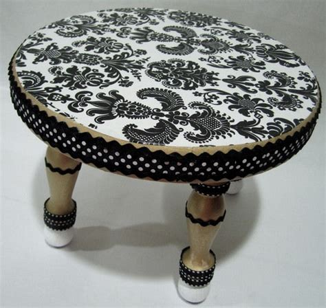 Decoupage Stool - black and white damask decoupage step stool the frog and