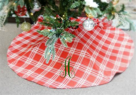 sale red plaid christmas tree skirt large personalized with