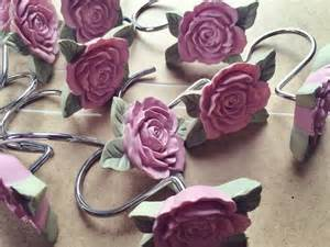 vintage pink shower curtain hooks jewelry holder hooks