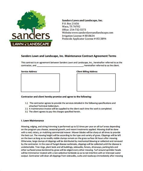10 Lawn Service Contract Templates To Download For Free Sle Templates Free Landscape Maintenance Contract Template