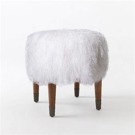 mongolian fur stool uk real white mongolian tibetan fur bench stool ottoman