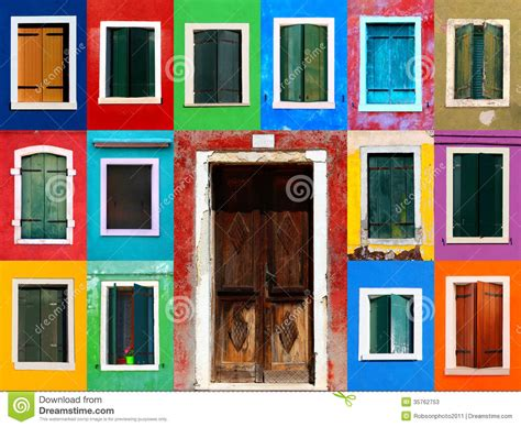 colorful doors windows collage with door stock image image of burano