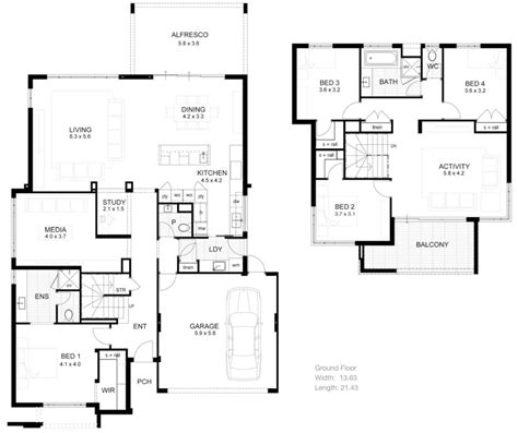 two floor plans 2 storey modern house design with floor plan modern house