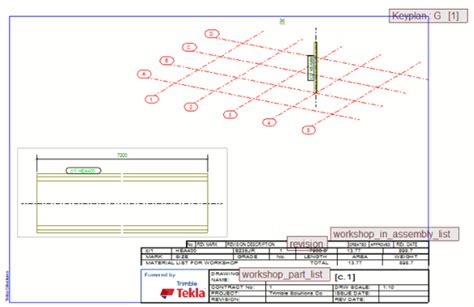 layout key plan edit the table layout directly on a drawing tekla user