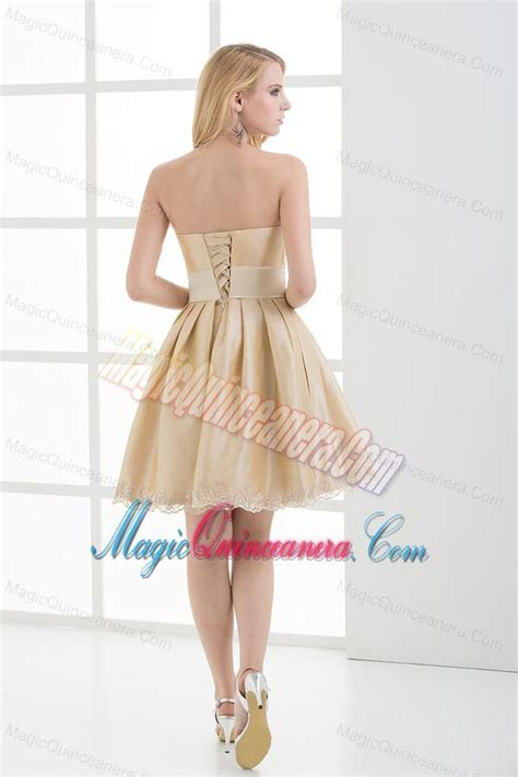 A line Strapless Sleeveless Embroidery Champagne Dama