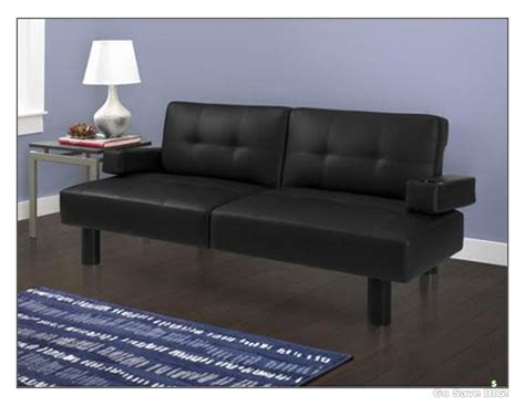 Mainstays Sofa Sleeper Black Faux Leather Modern Futon Sofa Bed Mainstays Faux Leather Armrests Sleeper Futons Beds Black Ebay