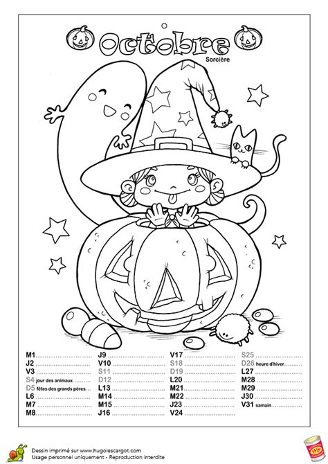 Coloriage 10 calendrier enchante octobre sur Hugolescargot.com