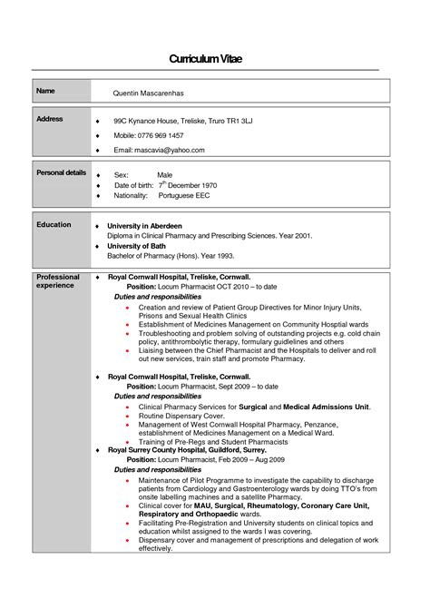 Sle Curriculum Vitae Of Pharmacist Resume For Pharmacists Sales Pharmacist Lewesmr