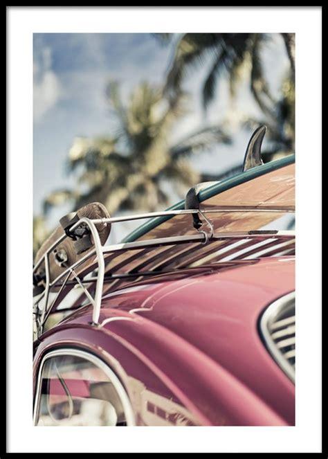 vintage surf car vintage surf car poster