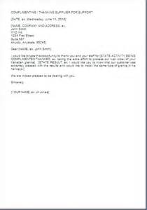 thank you letter to supplier or vendor