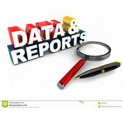 Reports And Data MIS Concept Word With Magnifying Glass Pen