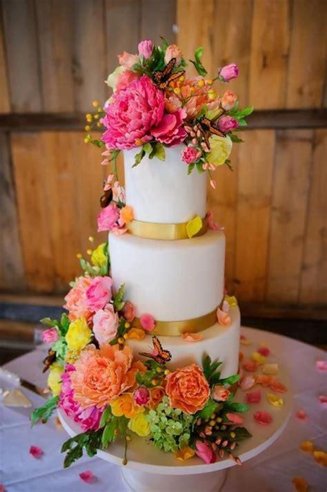 Sugar Flowers Wedding Cakes by Wedding Cakes Bright Sugar Flower Wedding Cake 2040215