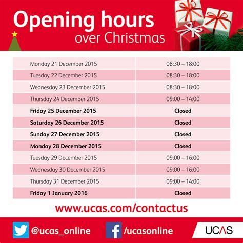 the ucas blog christmas opening hours