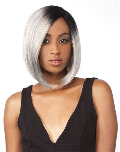 grey bob for old women short bob wigs for white women synthetic dark root ombre black silver gray lace front wig