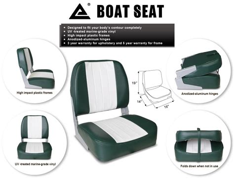 new white green deluxe folding marine boat seat uv - Boat Seats Target
