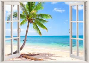 Removable Wall Stickers Nursery palm tree beach wall decal 3d window tropical beach decal