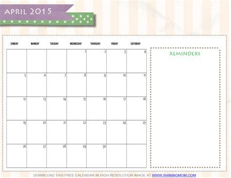online printable calendar april 2015 free printable april 2015 calendar by shining mom