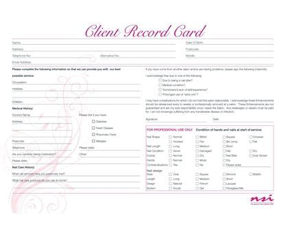 Client Record Card Template by Client Record Cards Hb Salons Salon