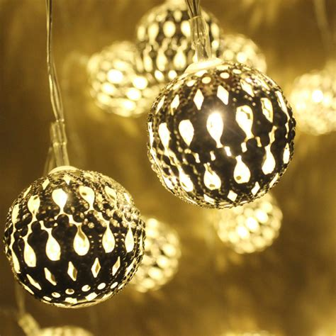 1m golden moroccan orb led string lights battery operated