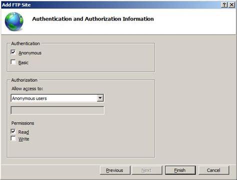 ftp default default ftp anonymous authentication settings the