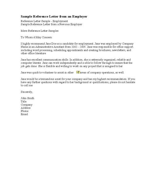 Letter Of Recommendation Word Count reference letter from previous employer pdf cover letter