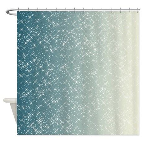 Teal And White Sparkles Shower Curtain By Be Inspired By Life