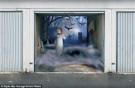 halloween garage themes halloween 2011 spooky 3 d garage door covers by thomas