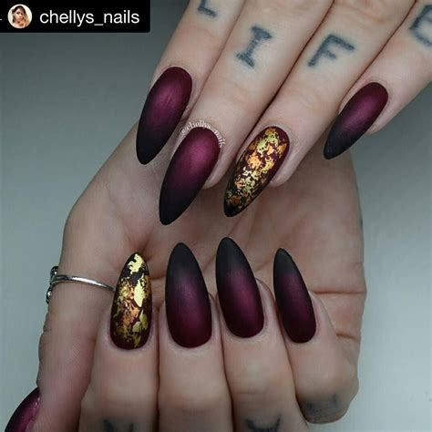 Nail Foil by Burgundy Matte Nails With Metallic Foil Accent Nails By