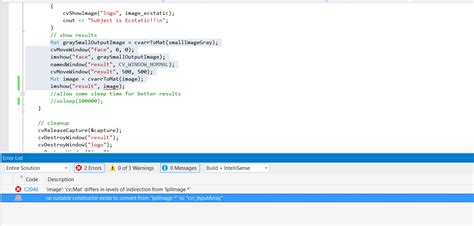 Opencv Mat Constructor by C Opencv Steps No Suitable Constructor Exists To Convert From Quot Iplimage Quot To Quot Cv
