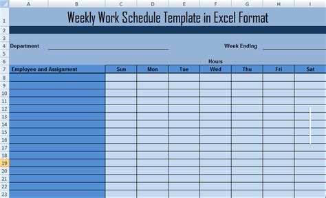 weekly work plan template excel weekly work schedule template in excel format