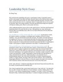 College Essays On Leadership by Leadership Style Essay