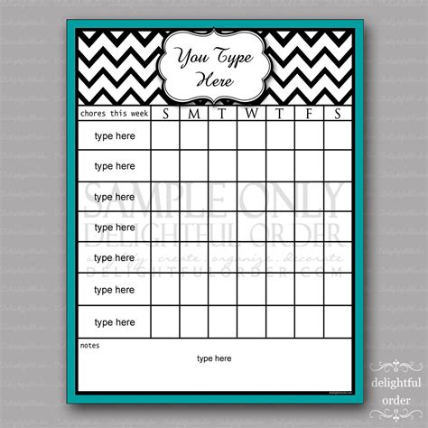 New Home Design Checklist by Editable Teal Chevron Chore Chart Pdf File Instant
