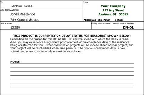 Report Delay Letter Delay Notice