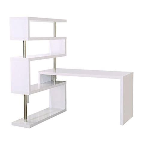 foldable rotating corner writing desk homcom foldable rotating corner desk and shelf combo white