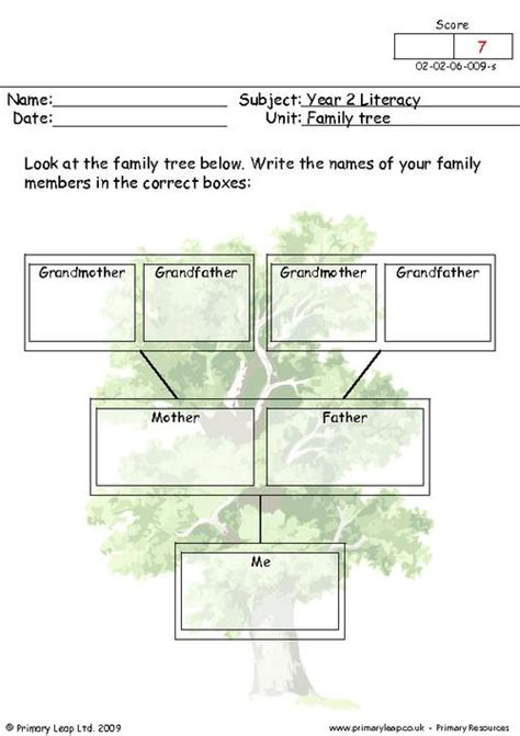 Family Tree Worksheets by My Family Tree Primaryleap Co Uk