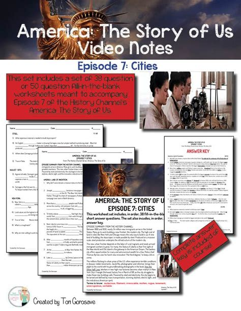 America The Story Of Us Episode 7 Worksheet by America The Story Of Us Episode 7 Cities This