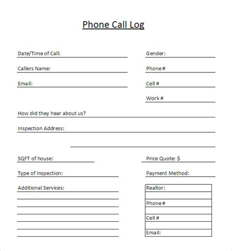 sle call log template 11 free documents in pdf word