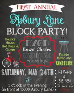 custom summer chalkboard block party invitation