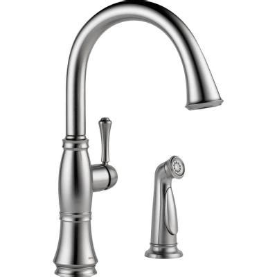 delta faucet 4453 ar dst linden single handle side sprayer kitchen faucet atg stores delta linden single handle standard kitchen faucet with