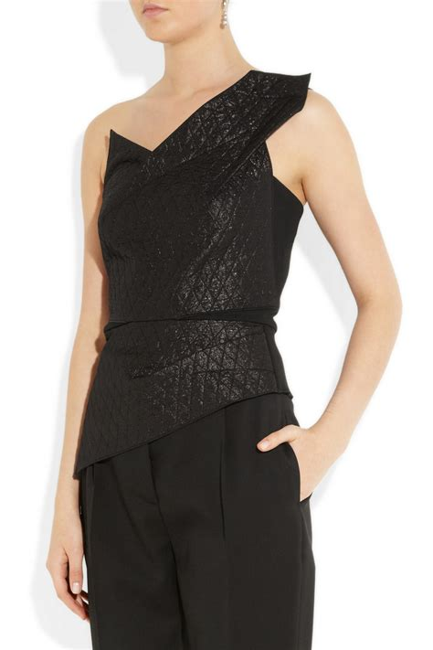 keiko top black lyst roland mouret keiko quilted lam 233 and stretch crepe