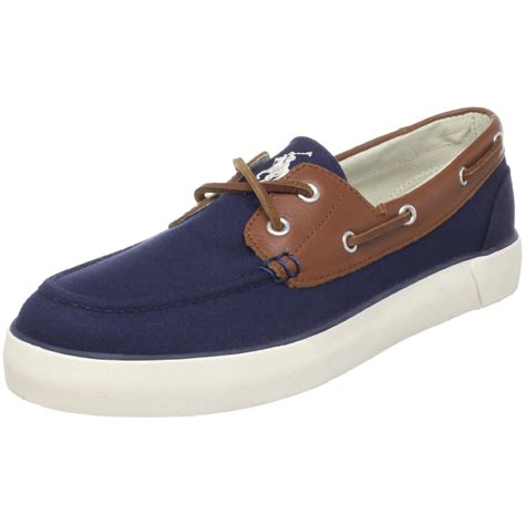 polo ralph mens rylander boat shoe in blue for