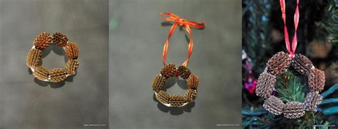 Handmade Tree Decorations - mini pine cone wreath be a