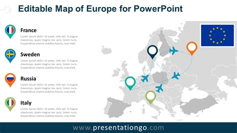 Europe Editable Powerpoint Map Presentationgo Com Powerpoint Map Templates