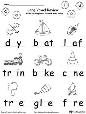 Vowel Sounds Worksheets For Kindergarten by Vowel Review Write Missing Vowel Vowels
