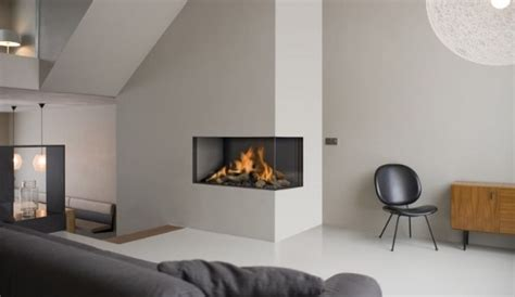modern corner fireplace modern living room with rectangle two sided corner